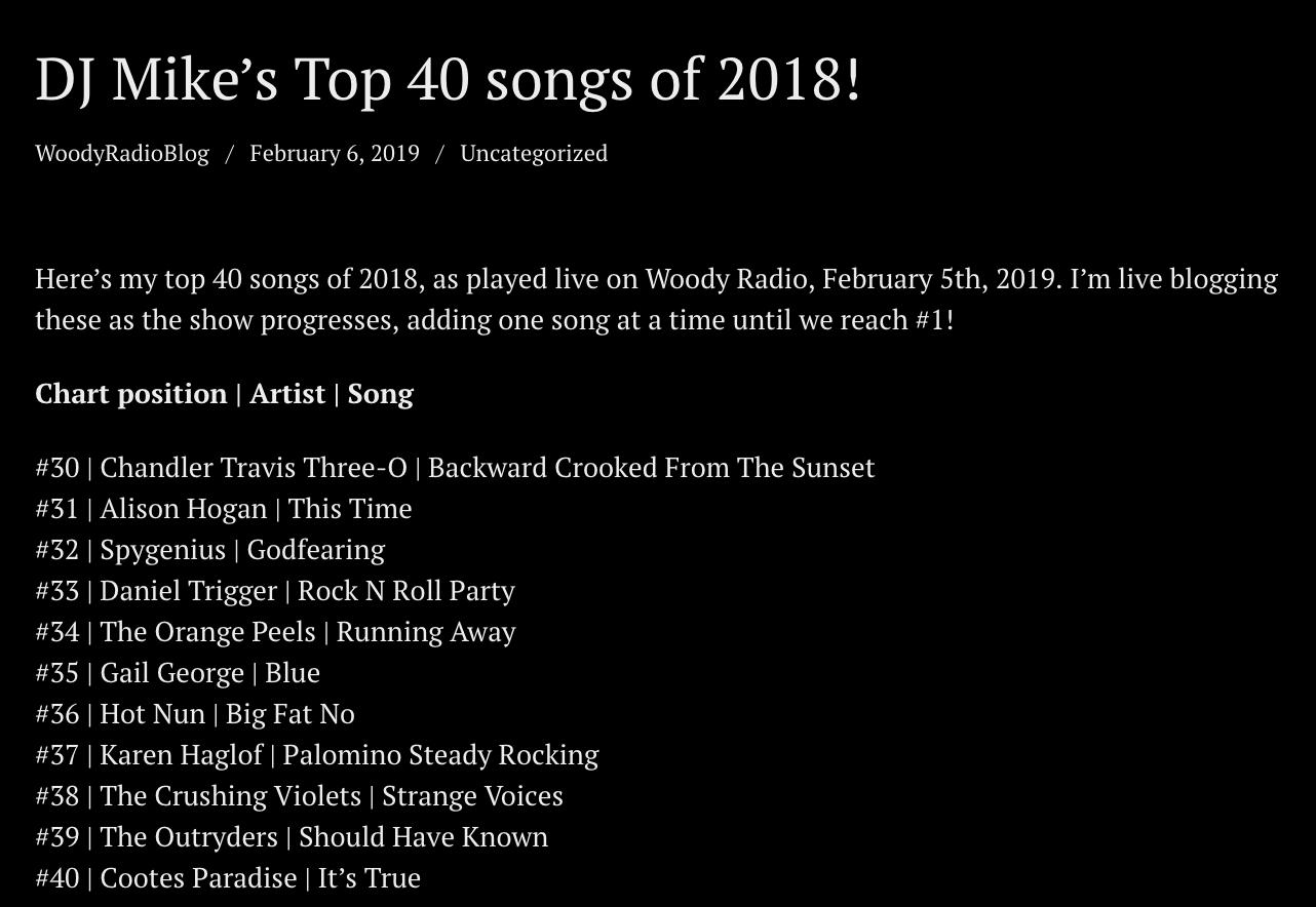 2019 02 06 WOODY RADIO TOP 31